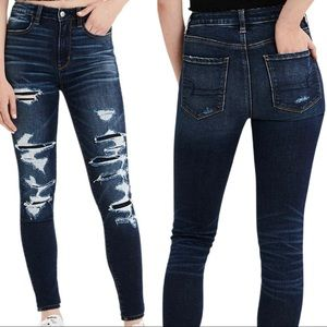 AE Destroyed Holes Patched & Stitched Jegging Jean